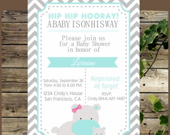 Printable Baby Shower Invitation, Hippo Chevron Baby Shower Invite, Personalized Hippo Baby Shower Invitation