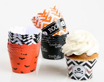 Assorted Halloween Cupcake Wrappers- Halloween Party Supplies - Set of 24