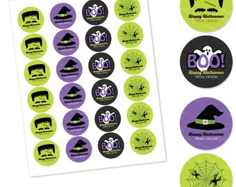 Happy Halloween -  Halloween Party Stickers - 24 Assorted Circle Labels