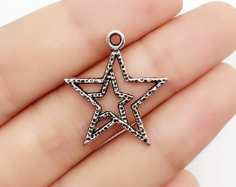 25pcs 30*22mm antique silver star charms, Star Pendant