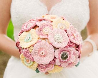 Heirloom Bouquet / Vintage Bouquet / Felt Button Bouquet / Everlasting Bouquet / Handmade Bouquet / Bespoke Bouquet / Wedding flowers