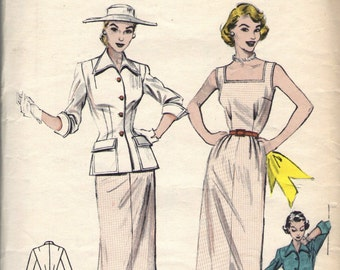 Vintage 1950s Butterick Sewing Pattern 6496- Misses' Dress and Jacket size 16 bust 34""