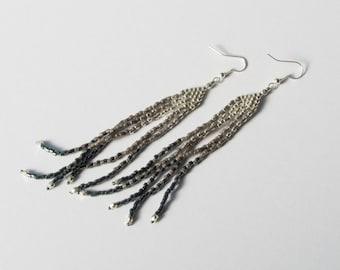 Steely feather long beadwoven earrings