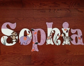 Custom Hand-Painted Wood Letters match COCALO JACANA PURPLE Jungle Zoo Animal Bedding Personalized Name... Priced Per Letter