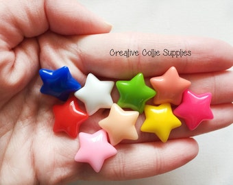9 Resin Star Cabochons - 16mm