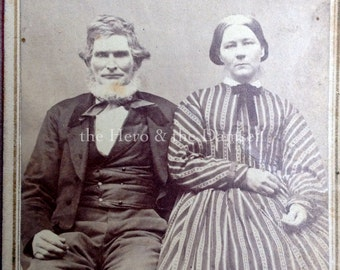 A Very Striped Dress // Married Couple CDV, pensive look, relaxed pose // Antique photo of old married couple in Civil War era fashion