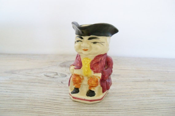 Vintage Toby Pitcher Ceramic Creamer Colonial Man Sitting Toby Mug Made in Japan 1950s