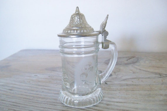 Vintage Mickey Mouse Tankard Crystal Mug Pewter Stein Etched Frosted Glass Original BMF Shnapskruger Made in Germany Miniature Tankard 1980s
