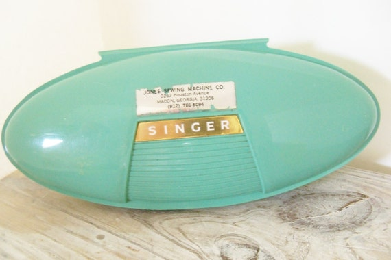 Vintage Singer ButtonHoler Aqua Portable Sewing Machine Button Holer USA US Patent No 2482607 Sewing Machine Co Macon Georgia 1960s