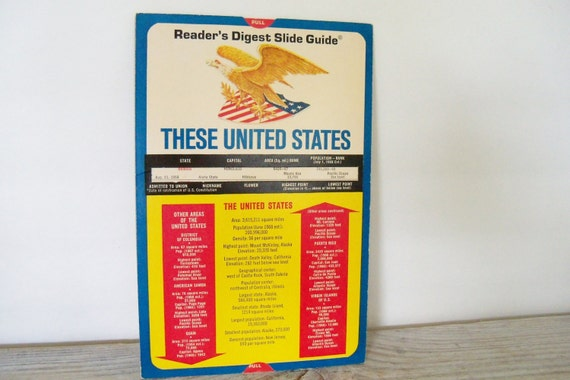 Vintage Calculator - Readers Digest Slide Guide - US States Stats - Capitals - State Flowers - Presidents - State Rivers - Cardboard -1968