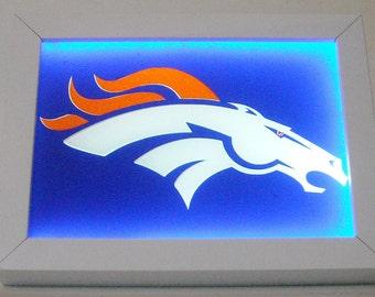 27 - Denver Broncos Football Framed Night Light Desk Lamp Man Cave Decor Kid's Room Decor Office Decor RV