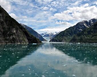 Fine Art Alaskan Glacier Photograph {Seascape Photo, Landscape Picture, Mountain Snow, Nature Print, Fjord Photography, Alaska Decor}