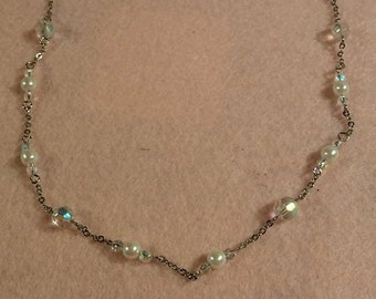 Sarah Coventry Silver Bead and Crystal necklace