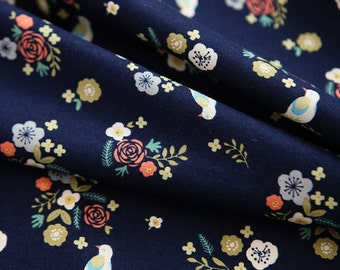 Lovely Flower and Bird Pattern Navy Cotton Fabric by Yard