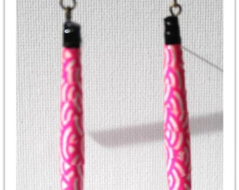 Paper - pink and white earrings