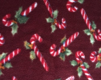 Fabric by the 1/2 Yard - Candy Canes Anti-Pill Fleece