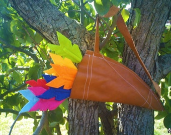 Set of seven Felt Arrow Pencil Toppers with Leather Quiver