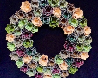 "12"" paper rosette wreath greens/burgendy/browns"
