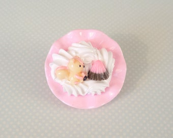 Decoden Pin - Pink Kawaii Sweets Brooch for Fairy Kei