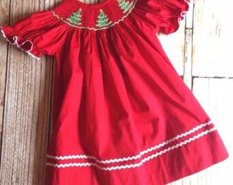 Red Smocked Christmas Tree Dress