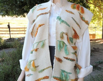 Southwest Creme Off White Art Yarn Poncho Vest with Fringe made from Alpaca Kid Mohair and Targhee sheep wool