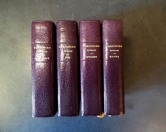 Set of 4 French Leather cover Missal for the Four Deasons.  Religious prayer book. Vintage Catholic Book.