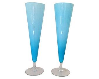 1950s Italian Venetian Glass Vases, Pair