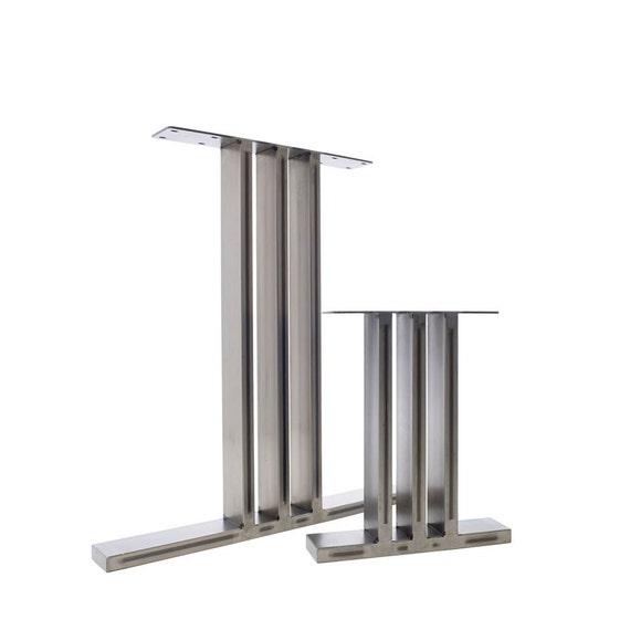 2 x Table Legs - Industrial Dining Pedestals in Steel