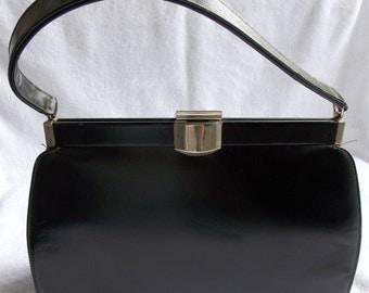 Big SALE Vintage 60's Black Leather Handbag/Purse