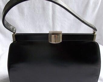 XMAS SALE Vintage 60's Black Leather Handbag/Purse