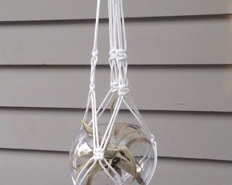 Macrame Plant hanger TWIST White
