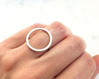minimalist open circle ring, sterling silver open ring, silver infinity ring, silver eternity ring, silver karma ring