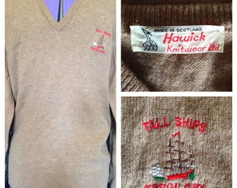 1970's Hanwick Knitwear vintage wool beige brown jumper mens medium - large (uk)