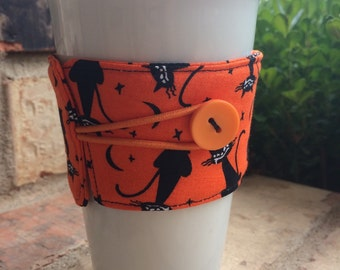 Halloween Cats Coffee Cozy Java Jacket Drink Sleeve Black Cats with Orange