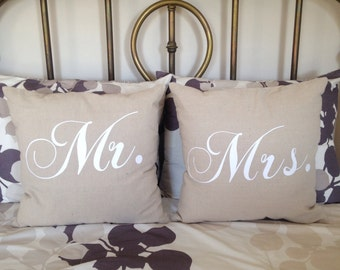 Mr and Mrs pillows  mr and mrs Personalized Pillows custom wedding pillows burlap pillows custom pillow
