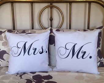 Mr and Mrs pillows  mr and mrs Personalized  white Pillows custom wedding pillows burlap pillows custom pillow custom wedding pillows