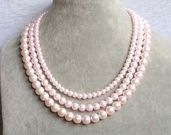 light pink Pearl Necklace,3 strand Pearl Necklace,Glass Pearl Necklace ,Wedding Pearl Necklace,Wedding Jewelry,Bridesmaid Necklace,Jewelry