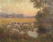 "Vintage Oil painting  ""Sheep at the Watering Hole"" Charles Franklin Chamberlain.  Dexter, Michigan artist"