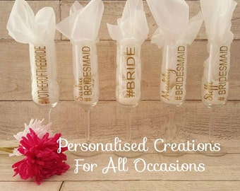 Personalised Wedding Champagne Glass/ Toasting flute
