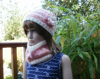 Girl's knitted hat, girl's cowl, girl's neck warmer, hat and cowl set, girl's hat and neck warmer, coral and cream hat, crochet flower hat.