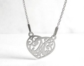 Romantic Necklace, Personalized M Necklace, Letter Heart Necklace M, Heart Silver Necklace, Letter Name Jewelry, Birthday Gift Idea, Atigga