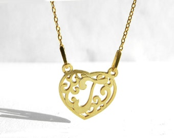 Letter T Necklace, Delicate Gold Plated Heart Necklace, Initial Necklace T, Alphabet Necklace, Gift Idea, Birthday, Wedding Jewelry, Atigga