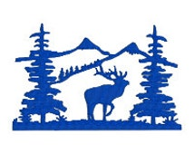 BUY 2, GET 1 FREE - Elk Mountain Pine Trees Silhouette Machine Embroidery Design in 3 Sizes - 4x4, 5x7, 6x10