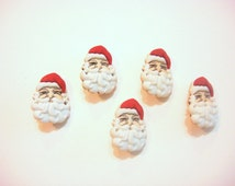 Santa Buttons Head Face Shank Back Set of 5 Jesse James Buttons Dress It Up Buttons Waiting for Santa Package B