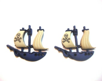 Pirate Ship Buttons Blue Jesse James Buttons Pirates Dress It Up Buttons Set of 2 Shank Back - 206