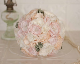 Vintage Inspired Fabric Wedding Bouquet, Satin and Lace Bridal Bouquet, Ivory, Blush and Pink, shabby chic flowers