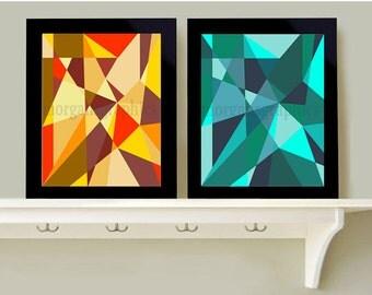 Geometric Warm Tone Cold Tone Print