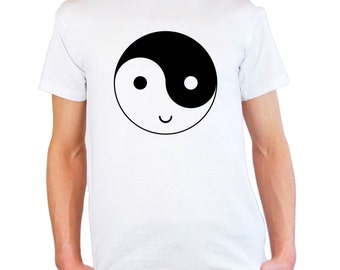 Mens & Womens T-Shirt with Yin and Yang Symbol Happy Face Design / Smile Ethical Symbol Shirts / Funny YingYang TShirt  + Free Decal Gift