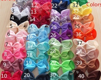 Extra Large 6 Inch Hair Bow WITH Clip 6-40 pcs  U Pic Colors Hair Clip Baby Girls Hair Bows Boutique bows Headwear 40colors Available