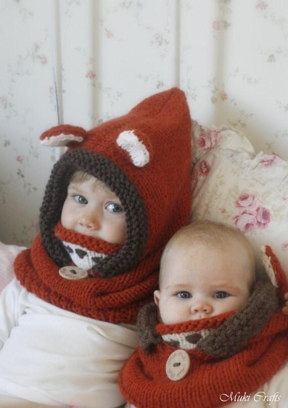Knitting Pattern Fox Hood : Knit fox hood cowl Rene - PDF knitting pattern - in baby ...